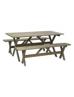 Mesa+2 bancos madera fsc...