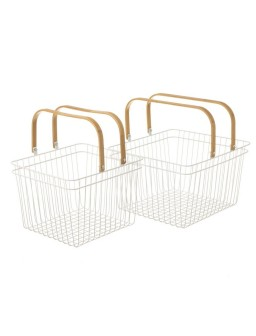 Cesta metal-bambú s/2
