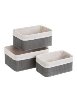 3 cestas bambú gris 35 X 25...