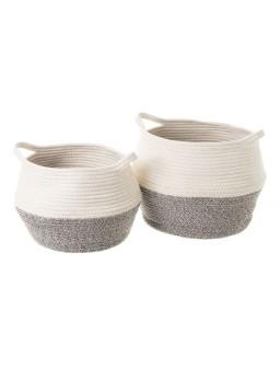 2 cestos algodón gris