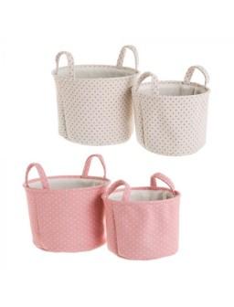 2 cestas tela rosa 32 X 32...